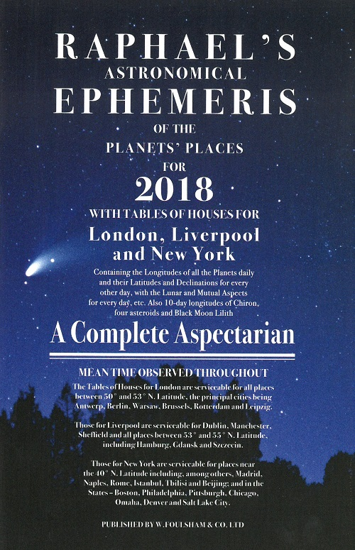 Raphael's astronomical ephemeris of the planet's places for 2018
